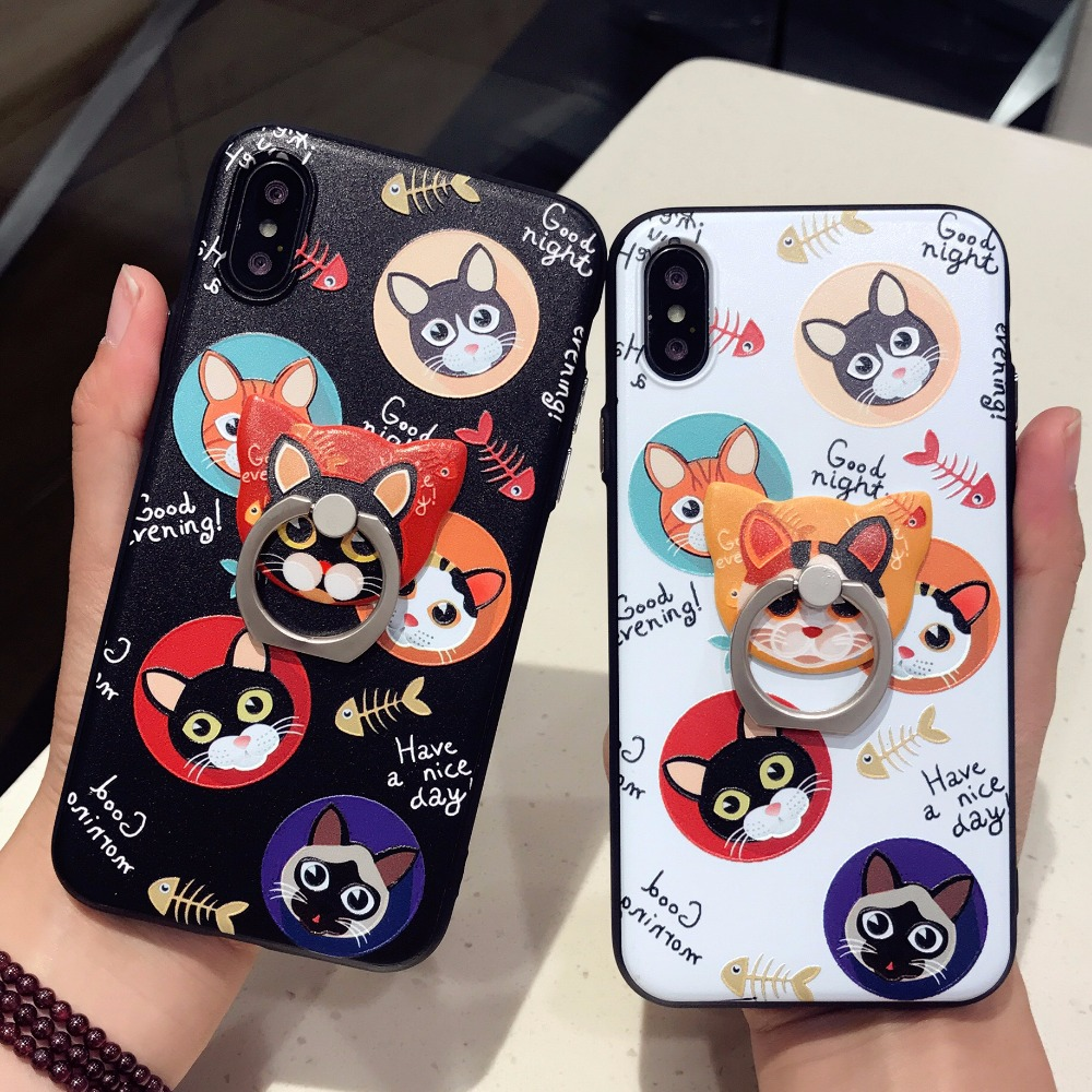 Squishy Cat Phone Case Iphone 8 : DOEES Cat Phone Case For iPhone X 8 Plus Cute Soft Silicone Finger Ring Kickstand Cover For ...