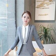 Formal Women Grau Blazer OL Stile Oberbekleidung Jacken Mantel Elegante  Dünne Mode Damen Kleidung Weibliche Tops 97fd9a5581