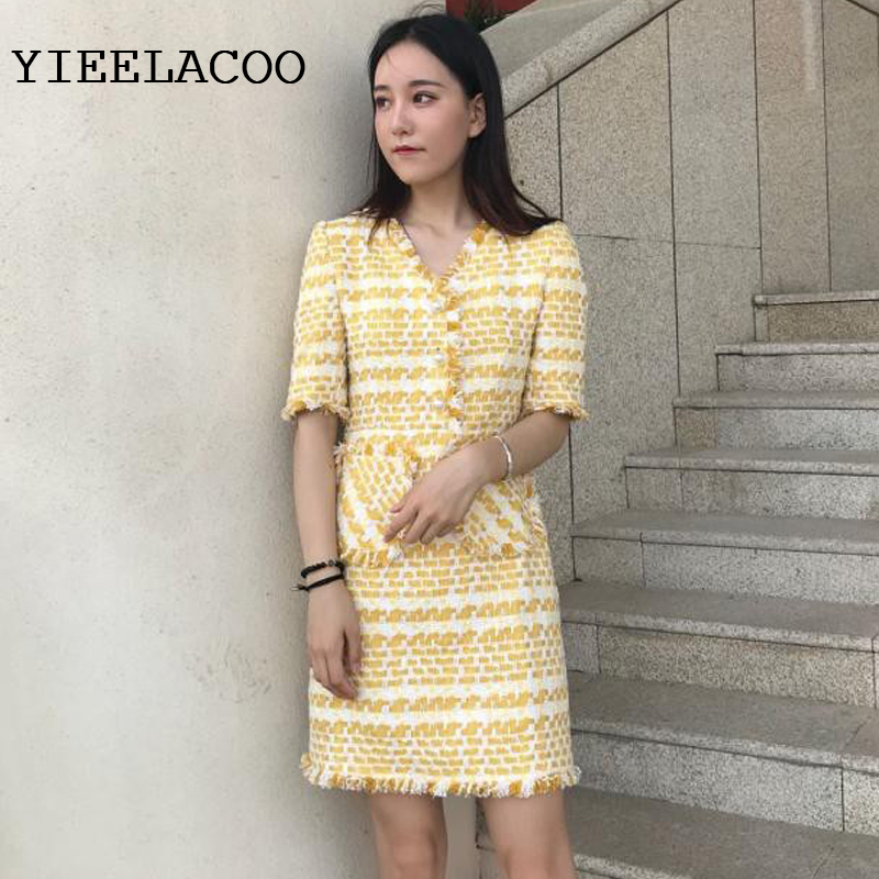 Yellow plaid tweed dress 2019 autumn and winter women s dress custom small fragrance tassel sleeves