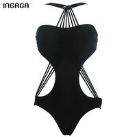 INGAGA Sexy One Piece Swimsuit 2017 New Bandeau Bandage Swimwear Summer Monokini Swimming Bathing Suits