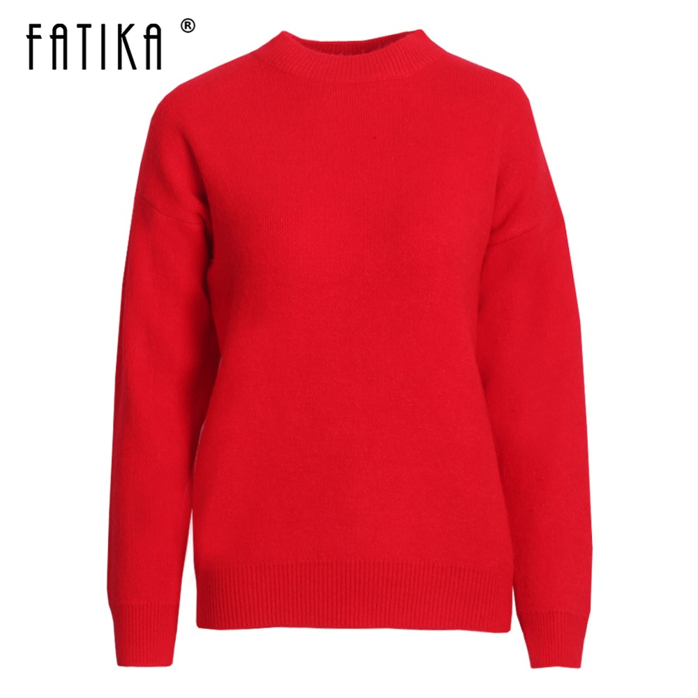 Fatika Spring Autumn Winter Women Sweaters Long Sleeve All Match Basic Knitted Pullover Solid Color Female Clothes Jumper Tops