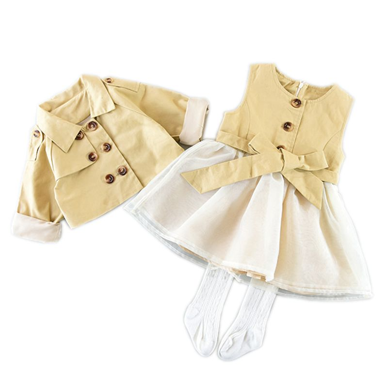 Retail 2017 New Autumn Kids Girls Clothing Set Coat + Vest Bow Dress Cotton Baby Girls Suits Set Fashion Children Girl Clothes new autumn retail baby girls fashion