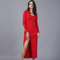 Más el Tamaño XL 2XL Rojo Negro Vestido Ajustado Atractivo 2017 otoño Invierno Ropa de Las Mujeres de División de Manga Larga Túnica Vestidos de Fiesta Vestidos