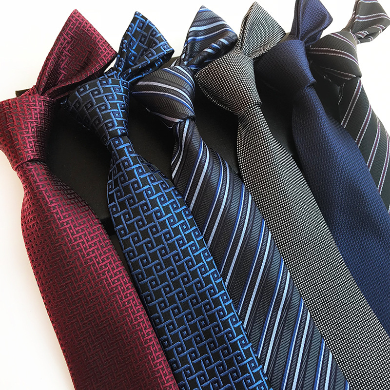 2018 New Polyester Jacquard 8 Cm Stripe Tie Business Casual Plaid Tie For Wedding Party