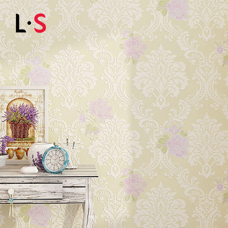 3D Pastoral WallPaper Non-woven Flocking Embossed Floral Wallpaper Durable Thicken Mural Flower Wallpapers Rural WP16058 free shipping hepburn classic black and white photographs women s clothing store cafe background mural non woven wallpaper