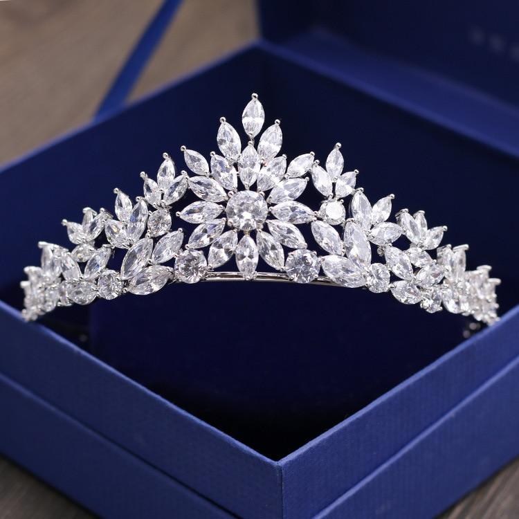 Mariée magnifique mariage cubique Zircon diadème mariée CZ couronne reine princesse Pageant fête casque demoiselles d'honneur accessoires de cheveux