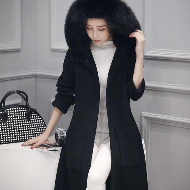 137a08bace5 Woman Winter Warm Black Woolencoat Hooded Plus Size Long Down Jacket Thick  Maxi Coat Palto Faux