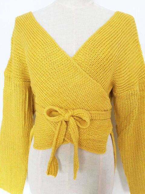 Hirigin Women Sweaters Crop Top Casual Long sleeve Knitted Loose Sweater Knitwear For Women Belt Deep V Neck Outwear Fashion 6