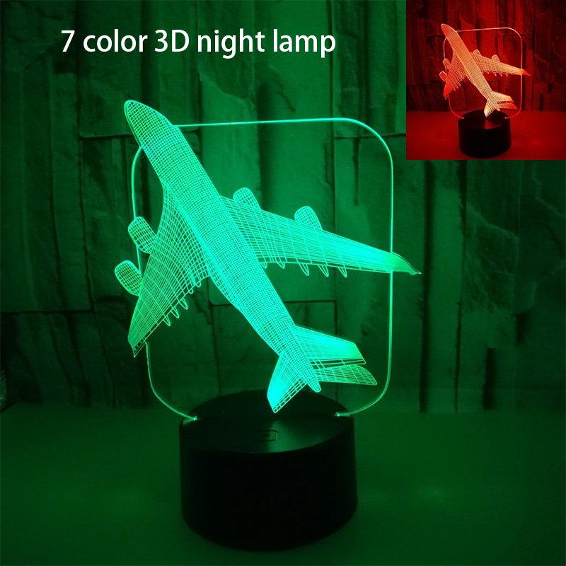 Aircraft Airplane Acrylic Led 3D Night Light Model Toys Lamp Plane Nighttime Table RGB Color Desk Light For Birthday Party