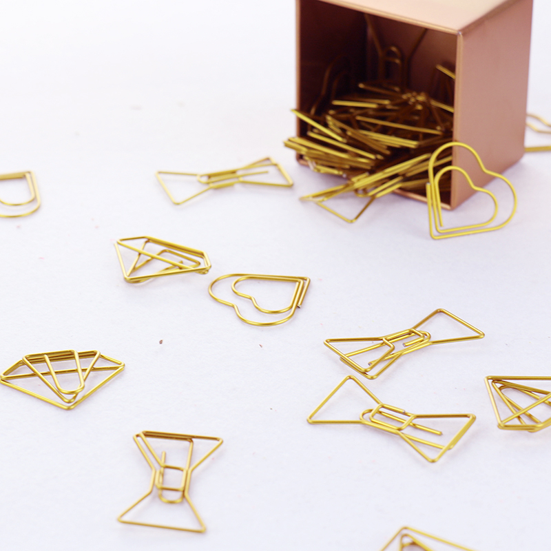 TUTU 30PCS/LOT high quality Paperclip Book Mark Bow Clip Accessories Bookmark Bookend Clip Metal Paper Clip Gold Paperclip H0030-in Clips from Office & School Supplies