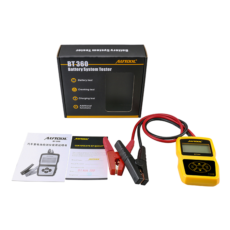 Original AUTOOL BT360 Car Battery Tester 12V 2000CCA 220AH Multi Languages BAD Cell Test Car Tools