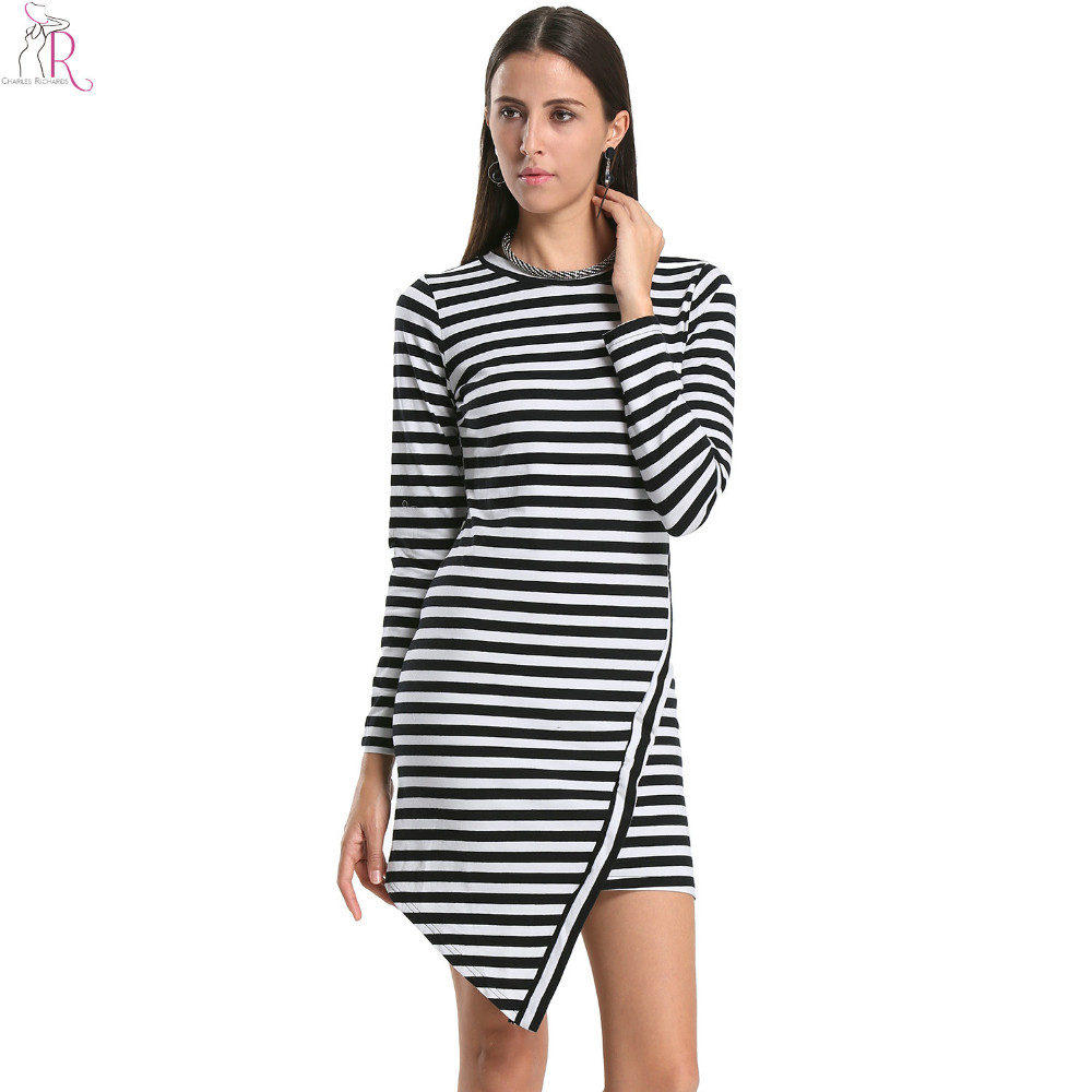Women Bodycon Dress Black White Striped Contrast Color Triangle Asymmetric Hem Jersey Casual Long Sleeve 2017 Fall Fashion
