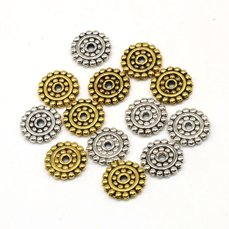 50pcs/lot 13mm Wheel Pattern Flower Metal Alloy Spacer beads For Silver Plated Loose Bead DIY Jewelry Findings Components