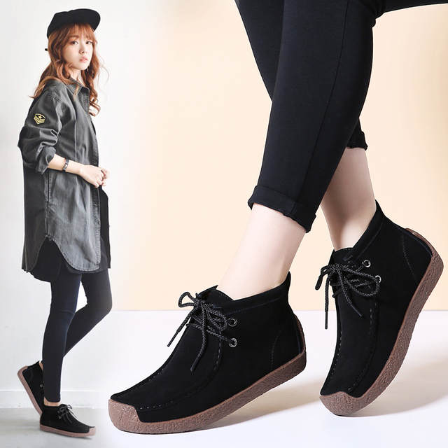 617790bf8a8 STQ 2019 Winter women ankle boots women warm push flat black rubber boots  female hiking Boots 7723