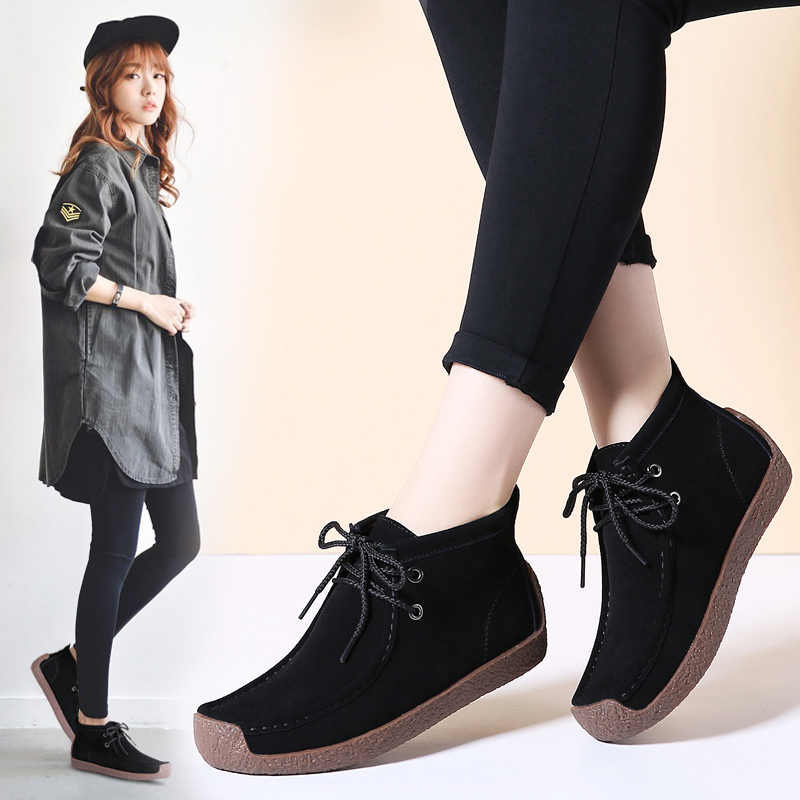 STQ 2020 kış kadın yarım çizmeler kadınlar sıcak itme düz siyah lastik çizmeler kadın yürüyüş botları 7723