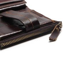 2019 Vintage Casual 100% Real Genuine Leather Oil Cowhide Men Mini Wallets Holder Coin Purse Pockets Small Men Wallet Coin Purse