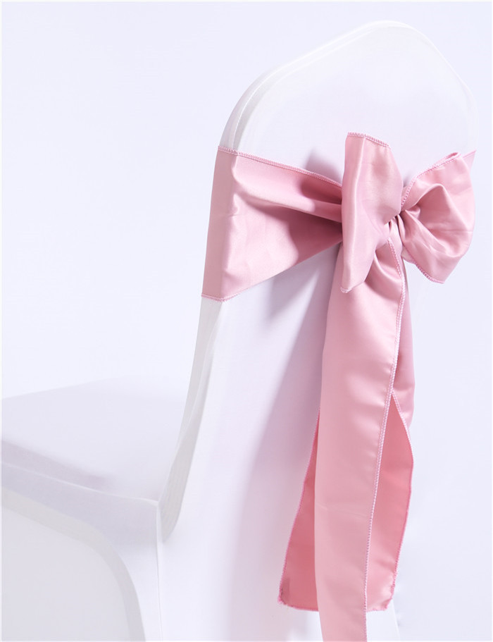 Marious Brand Wholesale 50pcs blush pink cheap chair sash satin chair sashes for wedding banquet China free shipping in Sashes from Home Garden