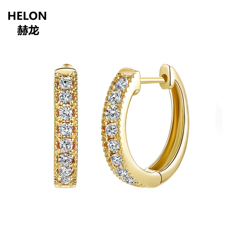 Solid 14k Yellow Gold Women Hoop Earrings Anniversary Engagement Wedding Party Fine Jewelry AAA Graded Cubic Zirconia CZ 2mm width 14kk solid white gold hoop earrings for women earrings aaa graded cubic zirconia cz party engagement wedding jewelry