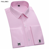 PAULJONES 2017 Top Quality Cotton Long Sleeve Men French Cufflinks Shirts Slim Fit Male Solid Pink White Violet Business Shirts