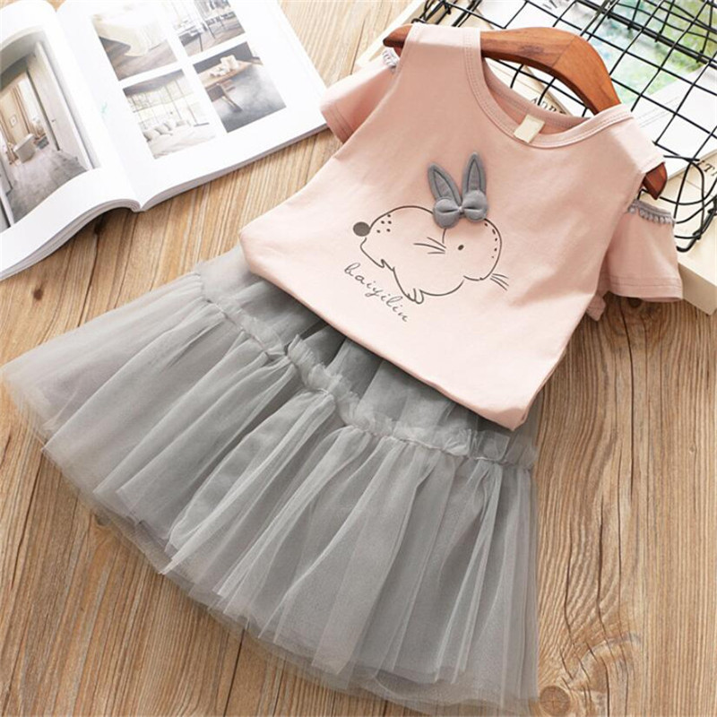 2019 Toddler Child Woman Set Garments Summer time Informal Women Clothes Rabbit Naked Shoulder Brief Sleeve T+Tutu Skirt Cartoon Two-piece Clothes Units, Low-cost Clothes Units, 2019 Toddler Child Woman...