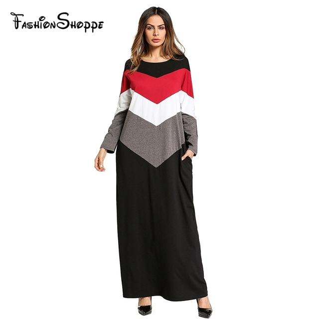 Stripe color block Casual Gowns for women Spring 2018 middle east ...
