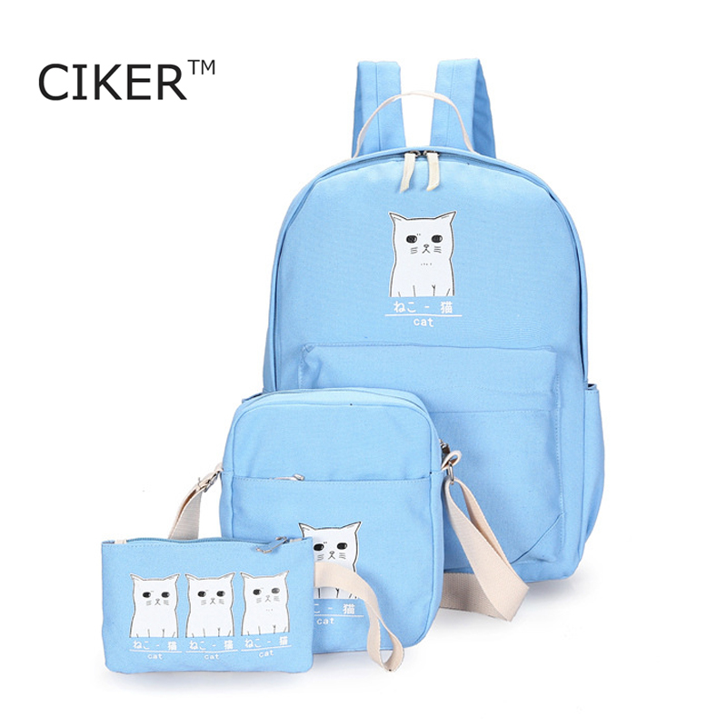 CIKER New style black white cat printing backpacks for teenage girls canvas backpack women school bags casual travel bag mochila
