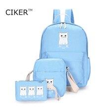 Ciker новый стиль черный белый с принтом кота рюкзаки для девочек-подростков холст рюкзак женщины школьные сумки Повседневная дорожная сумка Mochila