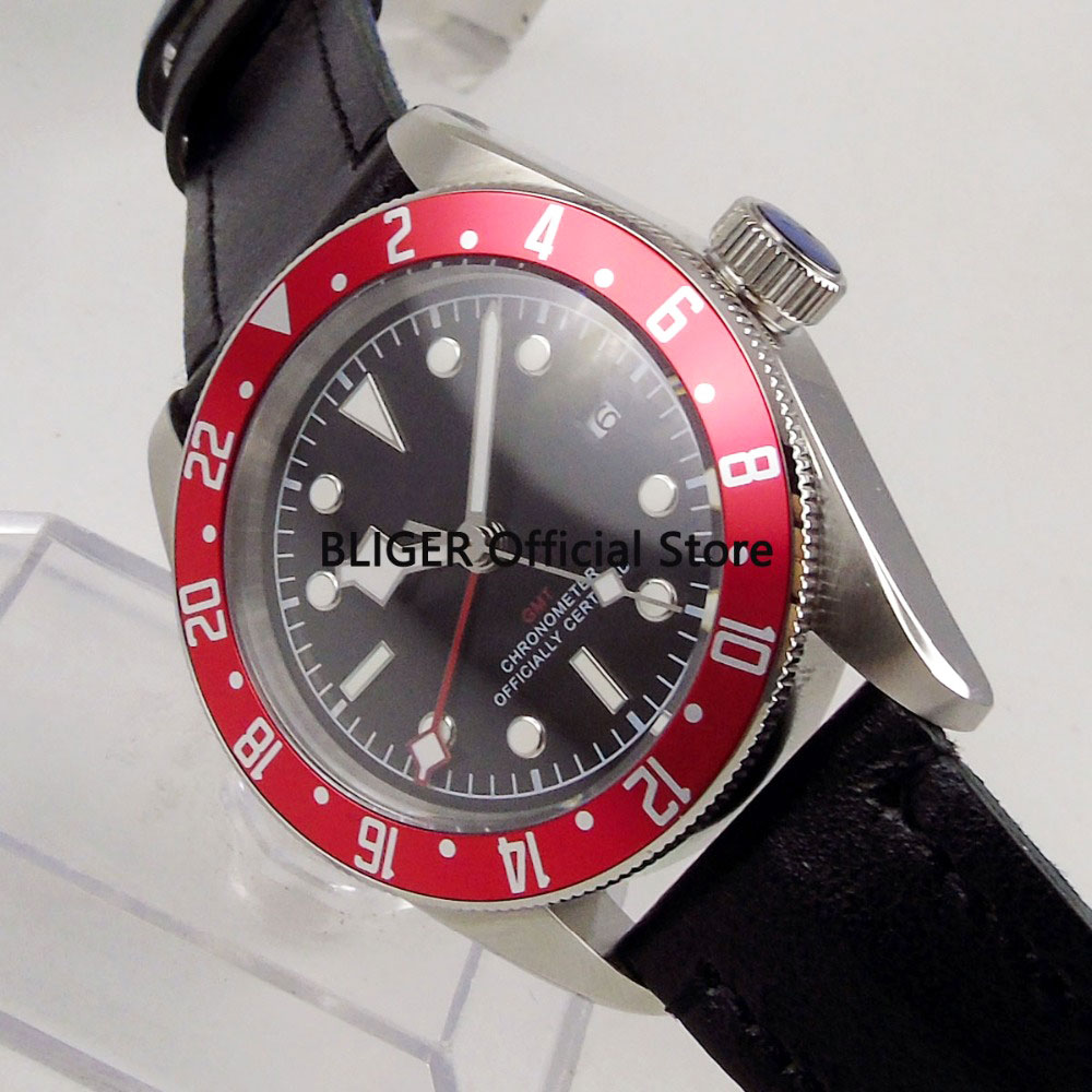 Luxury Brand 41mm Black Sterile Dial Red Alloy Bezel GMT Function Luminous Sapphire Glass Automatic Movement Mens Watch C113Luxury Brand 41mm Black Sterile Dial Red Alloy Bezel GMT Function Luminous Sapphire Glass Automatic Movement Mens Watch C113