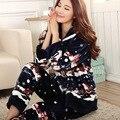A42 2016 nueva señora encantadora de dibujos animados pijamas de franela casa de Santa manga larga de Las Mujeres gruesas de invierno cálido servicio trajes de pijamas mujeres