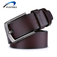 FUNTEKS High Quality cow genuine Leather Belt Men Luxury Brand Fashion Designer Mens Belts Pin Buckle Male Strap Ceinture Homme