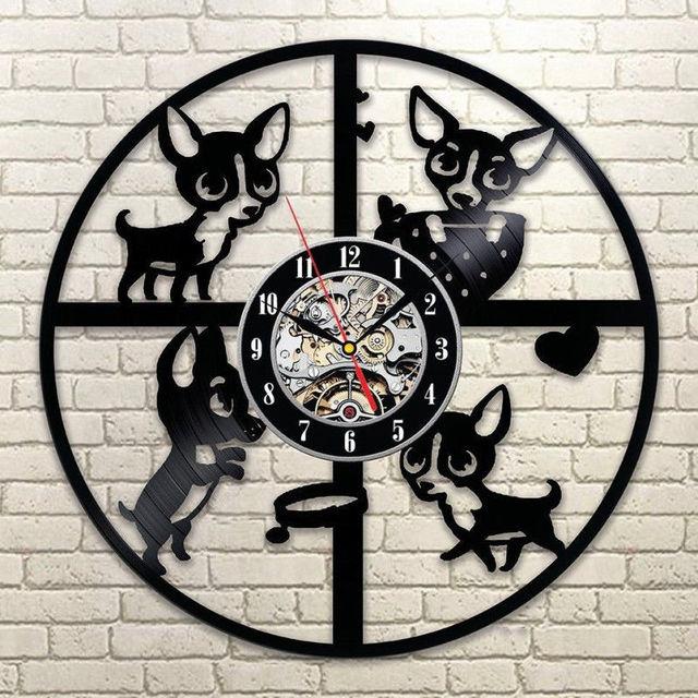Cute Dog Wall Clocks Modern Design Vinyl Record Clock Vintage Retro Style  Classic Wall Watch 3D