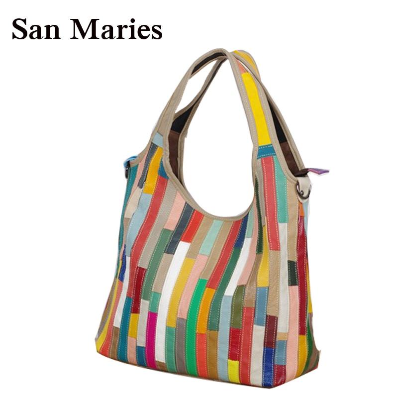 New Stripes Women s Handbag Genuine Leather Bag Fashion Handbags Ladies Hobos Purses And Handbag