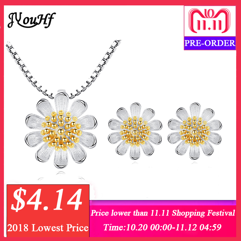 JYouHF Elegant Necklaces Earrings Set for Women Fashion Silver Golden Color Daisy Flower Charm Jewelry Set Party Gift Jewellery