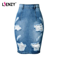 LIENZY 2016 Summer Fashion Women Denim Skirt Jeans High Waist Ripped Vintage Skinny Blue Midi Short