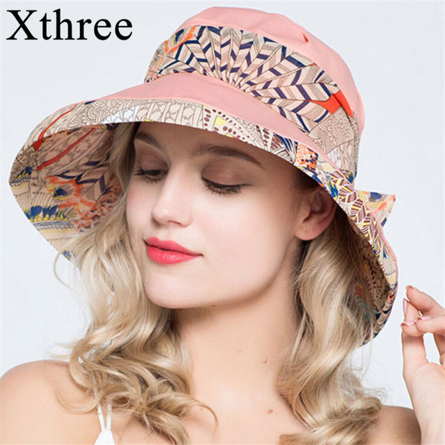 1f5bdb08b977 Xthree ladies summer hats for women large brim cotton lingerie Beach cap  sun hat female England Style