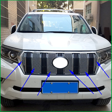 For Toyota Land Cruiser Prado LC150 2018 Stainless Steel Front Bumper Honeycomb Grille Center grill Cover Trim Car styling цена
