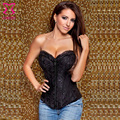 (L XXL XL L M S ) Steel Boned Overbust Corset Women Black Metal Buckle Bustier top + Thong for body shaping 2615