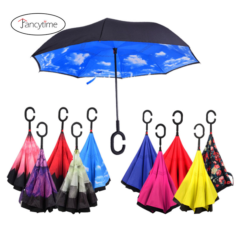 Double Layer Inside Out Folding Umbrella Reverse Inverted Windproof Cartoon Elephant With Crown Umbrella Upside Down Umbrellas with C-Shaped Handle for Women and Men