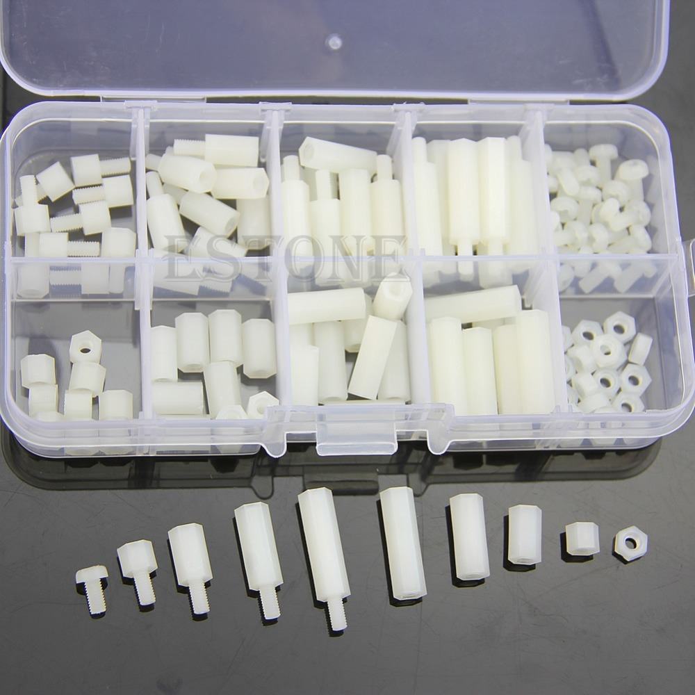 M3 Nylon Hex Spacers Screw Nut Assortment Kit Stand off Plastic Accessories Set стоимость