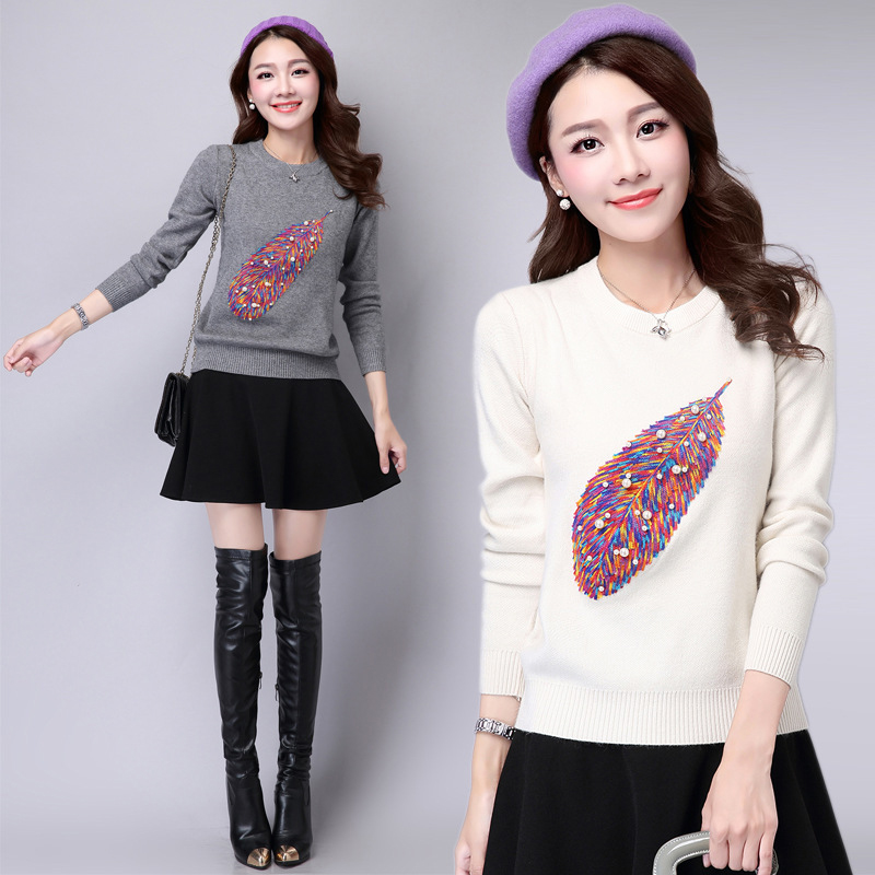Women Autumn Fashion O Neck Embroidery Beading Pullover Sweater Ladies Knitted Brife Sweaters Female Winter Knitwear Outfit Tops