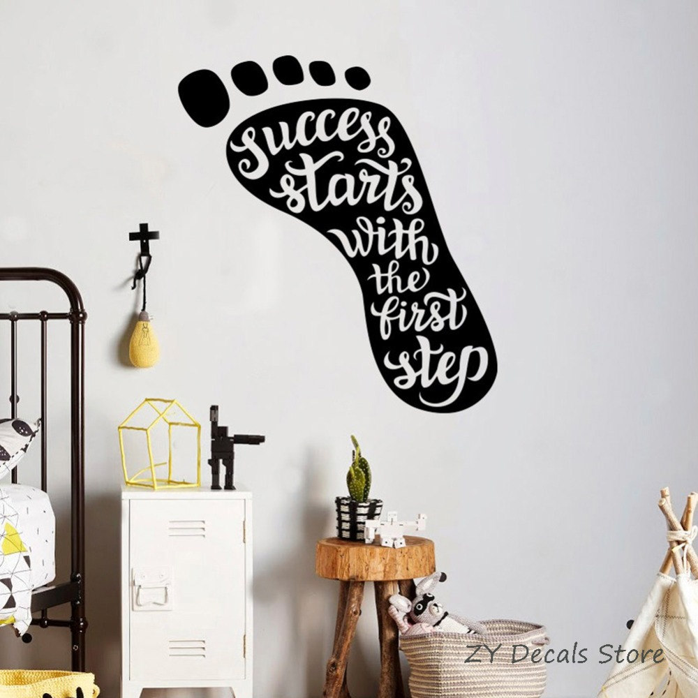 Foot Pattern Motivation Quotes Wall Decal Success Starts First Step Wall Sticker Wall Sayings Inspiration Home Decor Office S717