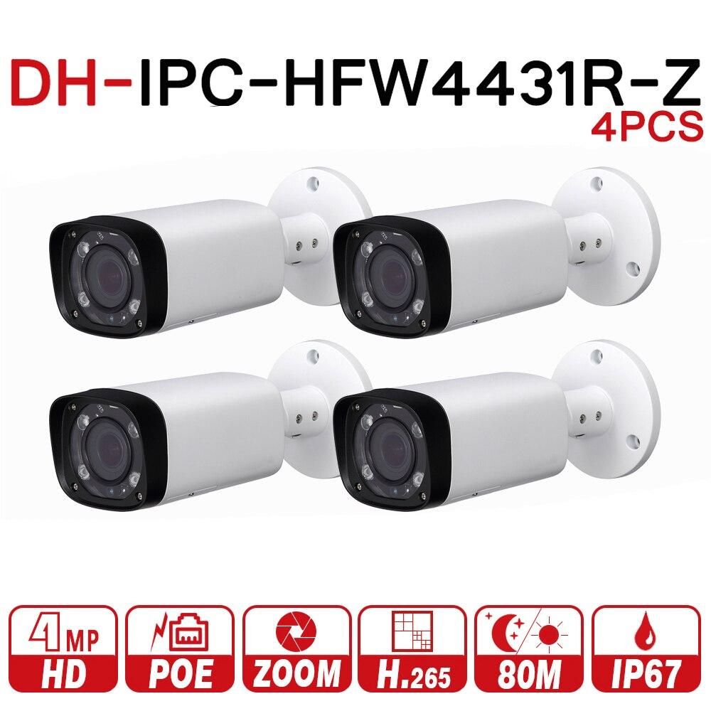 DH IPC-HFW4431R-Z 4 pcs/lot 4mp réseau IP caméra 2.7-12mm VF lentille Auto Focus 80m IR balle sécurité POE pour système de vidéosurveillance