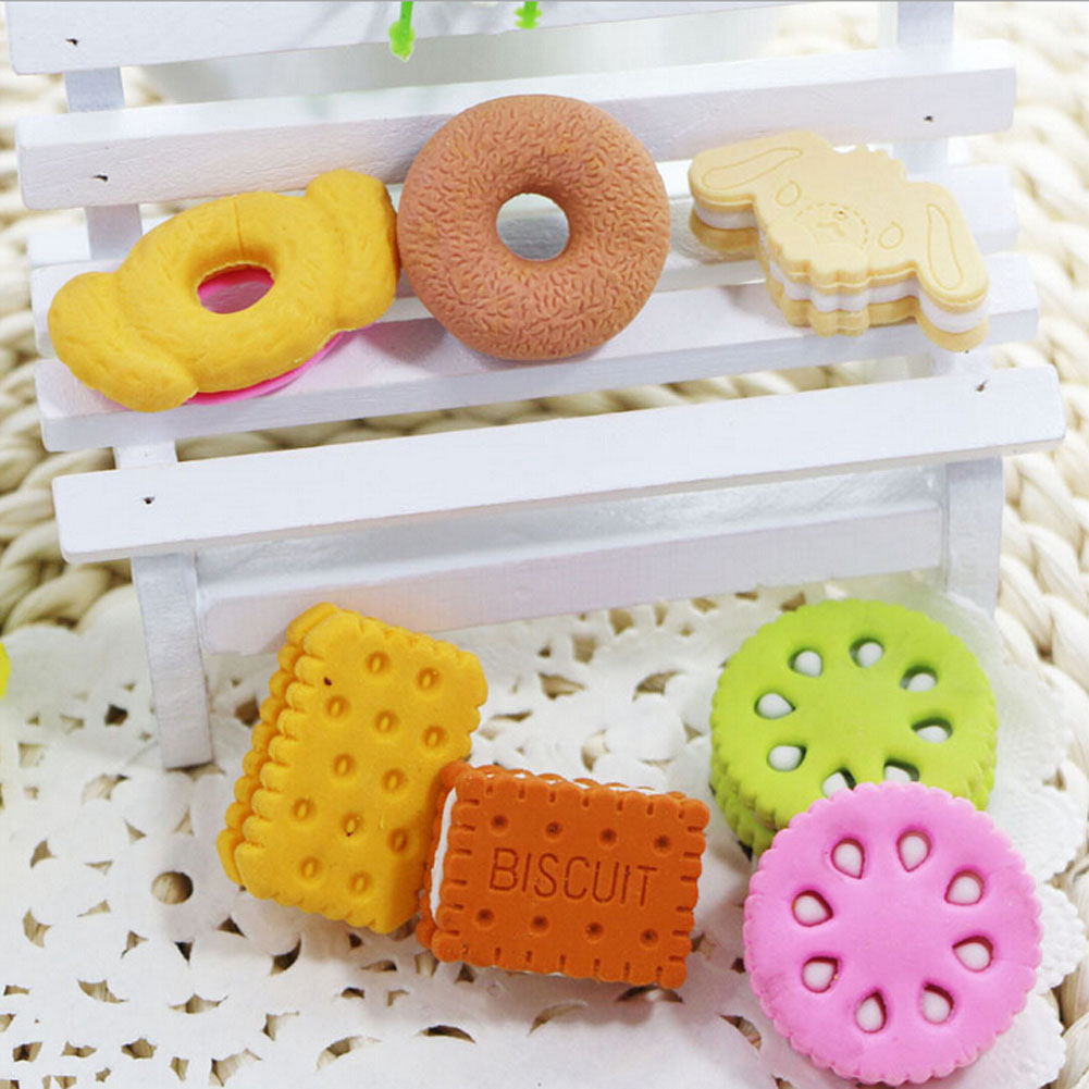 5Pcs/set Novelty Student Food Eraser Cute Rubber Doughnut Cream Biscuit Party Bag Gift Goods For School Office Erasers Supplies