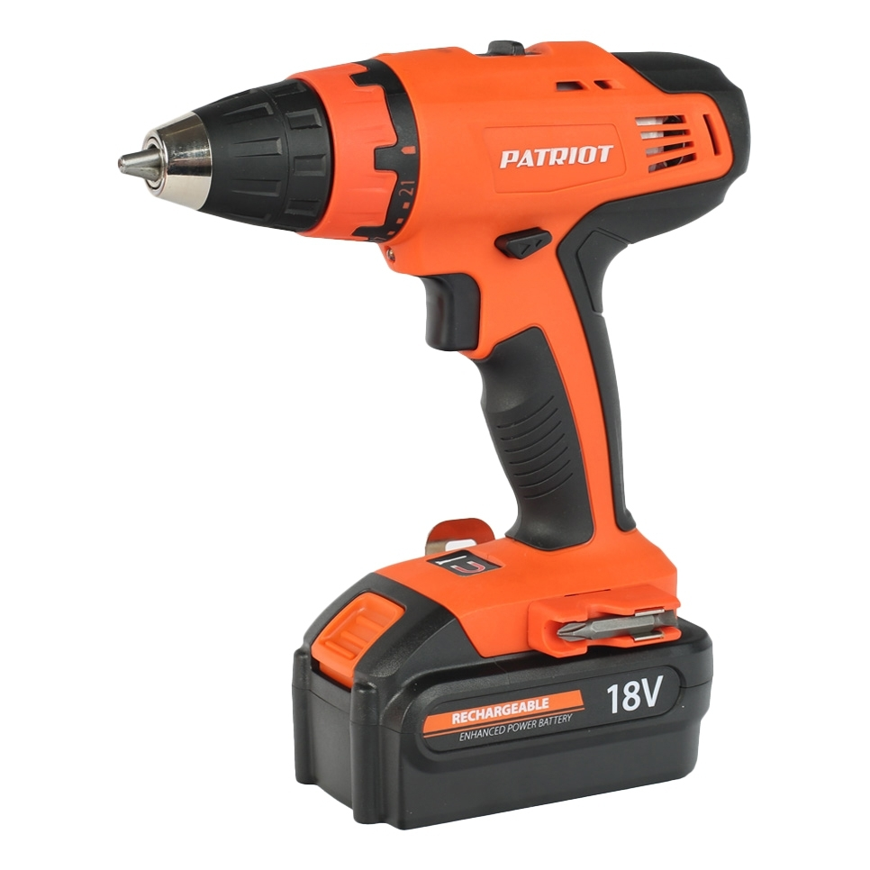 цена на Drill electric screwdriver rechargeable PATRIOT BR 180 (two Ni-Cd battery 18В, case, 2 speed, torque 39Нм)