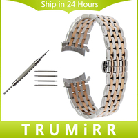 Curved End Stainless Steel Watch Band For Seiko 5 SKX007 Premier Superior Presage Wrist Strap Silver