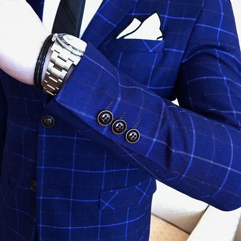 Mariage Costumes Costume Gilet 3 Haute Palefreniers De Pour Smoking Plaid 2018 Qualité Ensembles Pantalon Black Pièces gray Fit Slim blazer blue Sukiwml Hommes Nouvelle 7vqpw