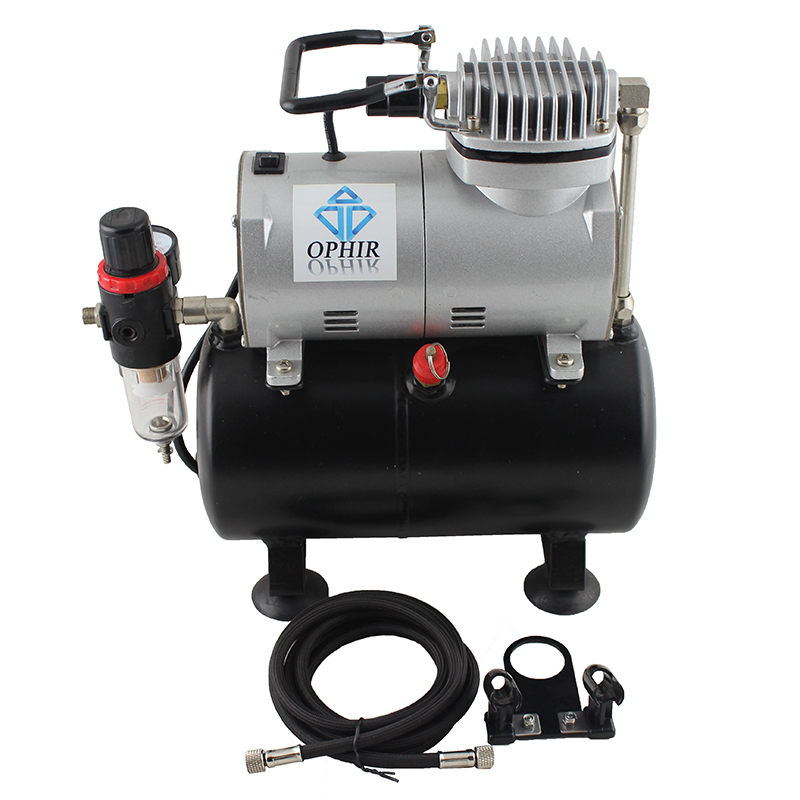 OPHIR PRO 2x Dual Action Airbrush Spray Gun with 110V 220V Air Tank Compressor Kit for Cake Art _AC090 004A 070 in Spray Guns from Tools