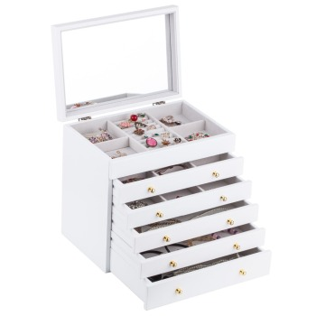 White Large Wooden Jewelry Box Organizer