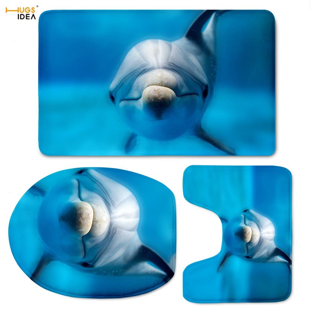 HUGSIDEA Blue Animal Dolphin Bathroom Toilet Seat Cover 3 piece Bath ...