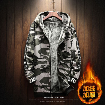 New arrival autumn winter thick men's cotton coat camouflage spliced homme outerwear fashion casual colthing plus size 5XL